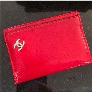 100% Red Authentic Patent Leather Chanel Wallet